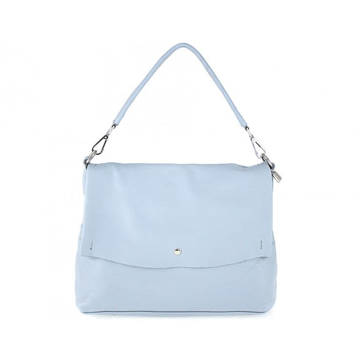 Genuine Leather Handbag 1195 light blue