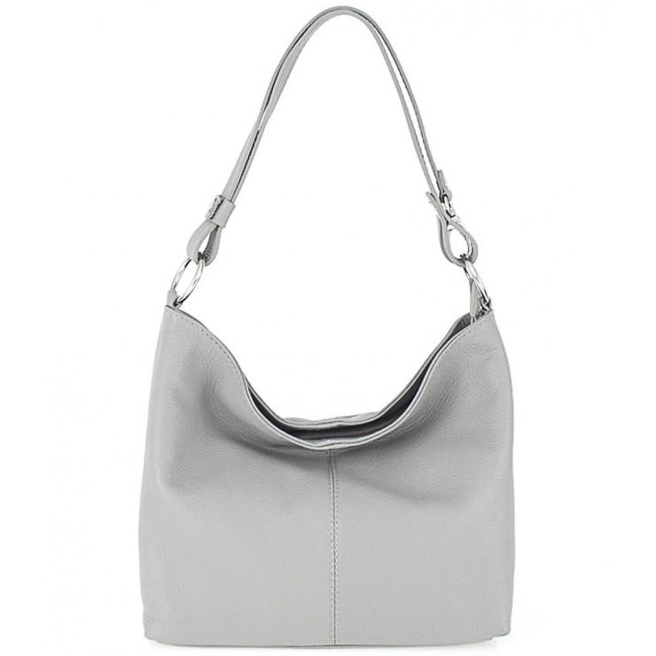 Kožená kabelka na rameno 729 šedá