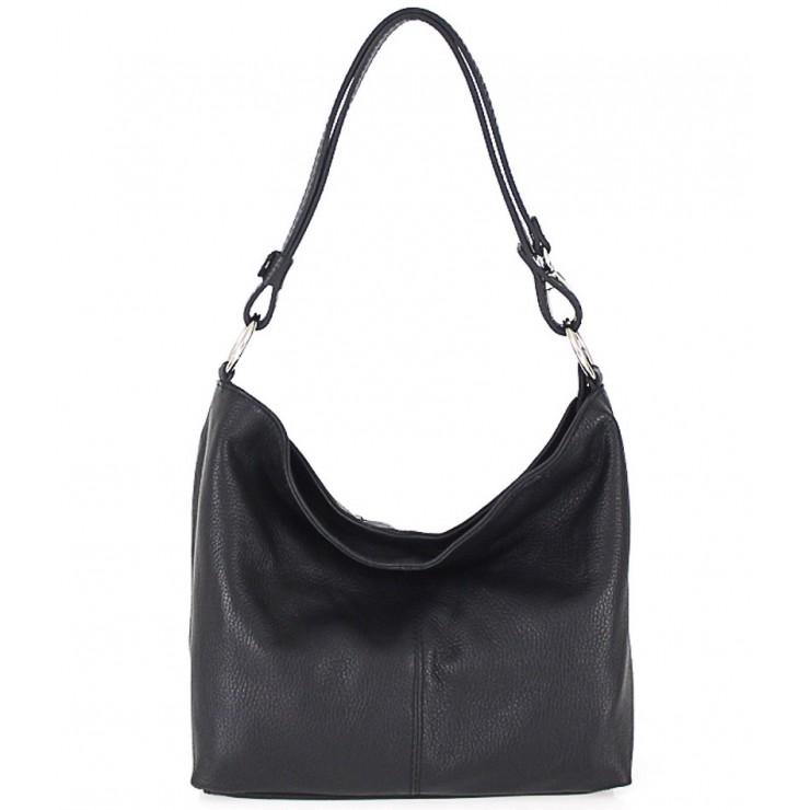 Kožená kabelka na rameno 729 čierna