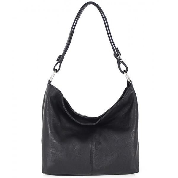 Kožená kabelka na rameno 729 čierna Čierna