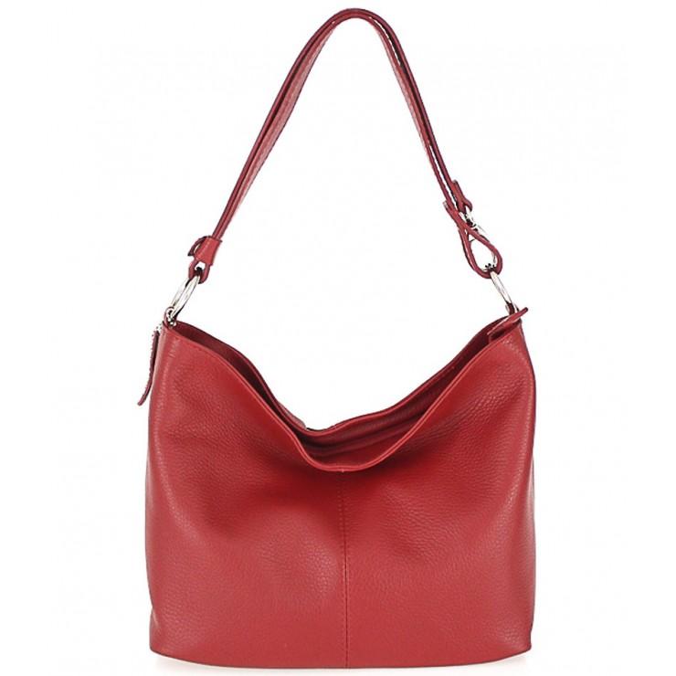 Kožená kabelka na rameno 729 červená Made in Italy