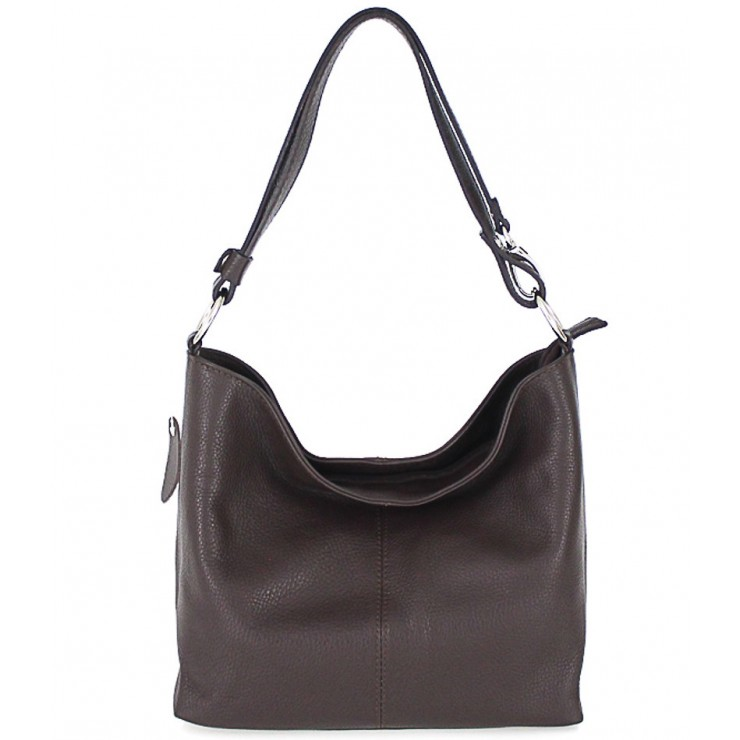 Genuine Leather Handbag 729 dark brown