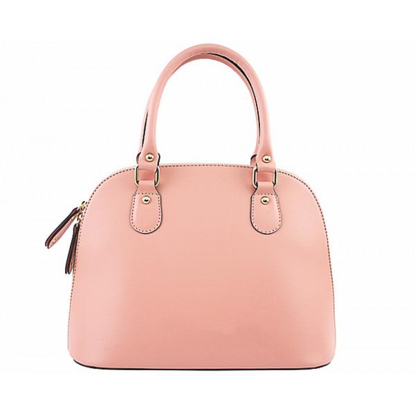 Ružová dámska kožená kabelka 444
