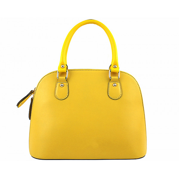 Žltá dámska kožená kabelka 444
