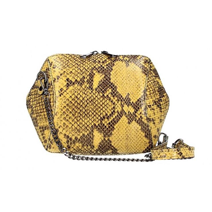 Žltá kožená kabelka 446