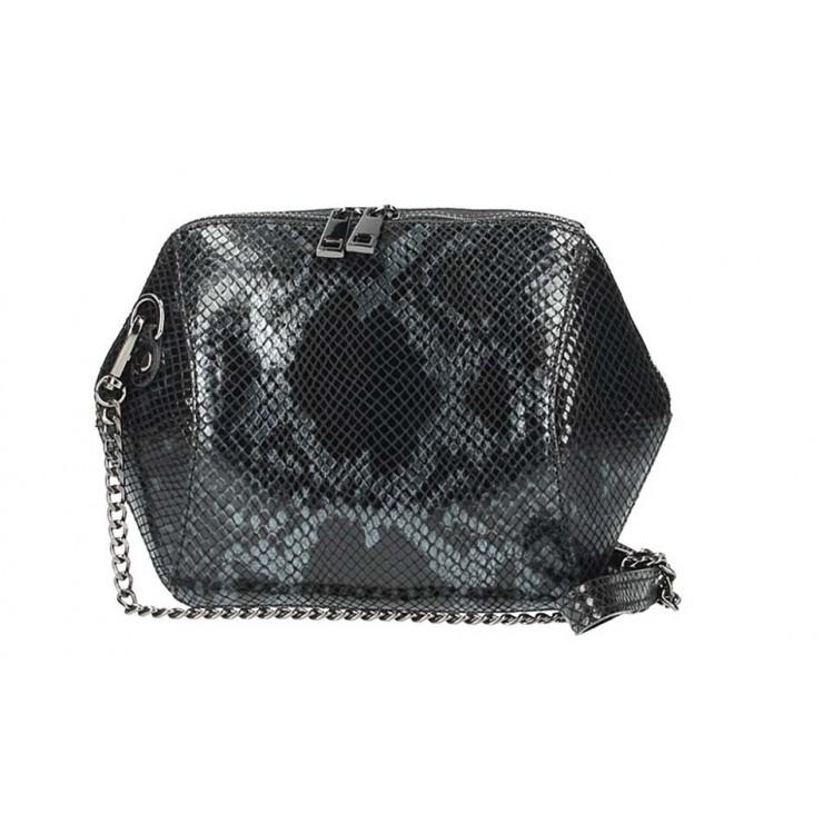 Čierna kožená kabelka 446 Made in Italy