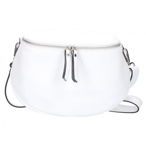 Dámska kožená kabelka na rameno 253 biela MADE IN ITALY