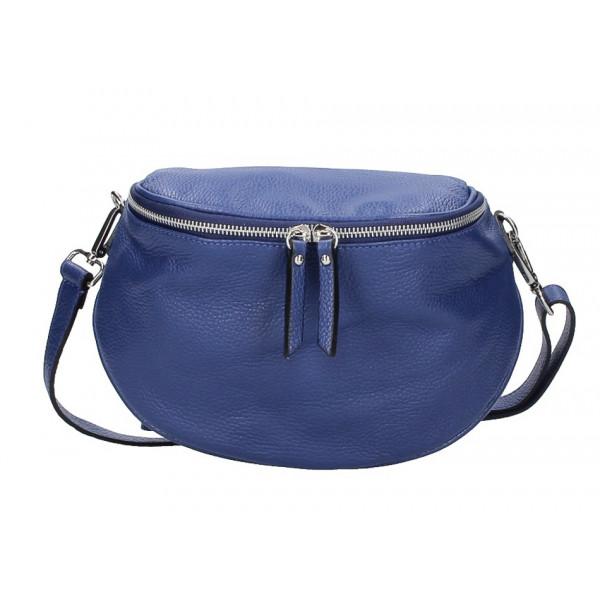 Dámska kožená kabelka na rameno 253 modrá MADE IN ITALY