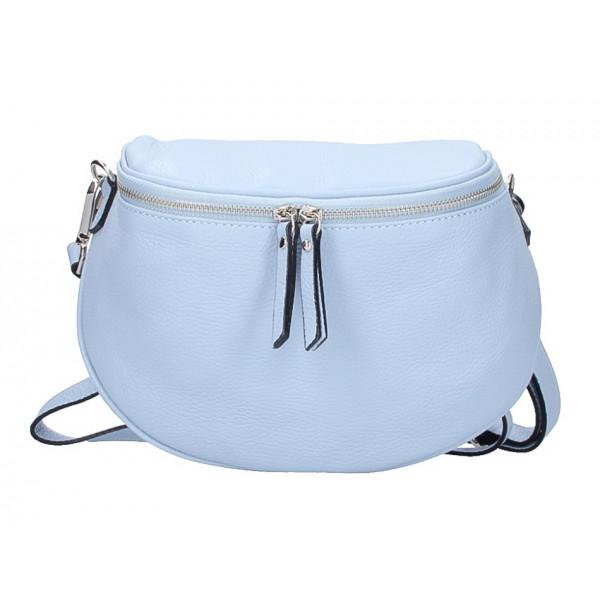Dámska kožená kabelka na rameno 253 nebesky modrá MADE IN ITALY