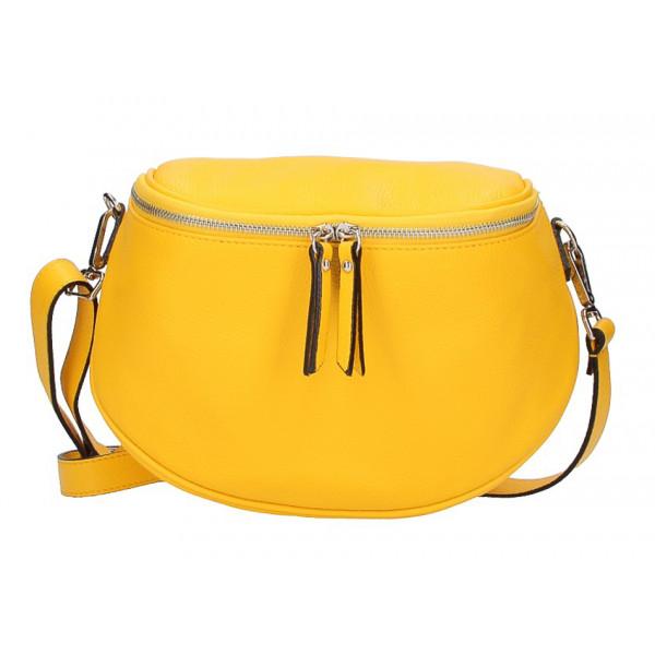 Dámska kožená kabelka na rameno 253 žltá MADE IN ITALY