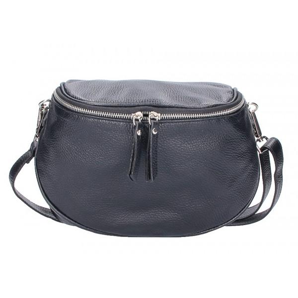 Dámska kožená kabelka na rameno 253 čierna MADE IN ITALY