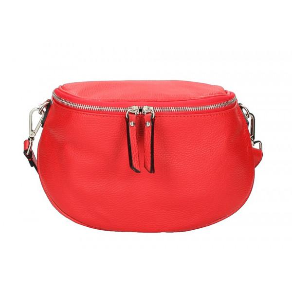 Dámska kožená kabelka na rameno 253 červená MADE IN ITALY