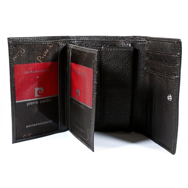Dámska kožená peňaženka tmavohnedá  P076 Pierre Cardin Hnedá
