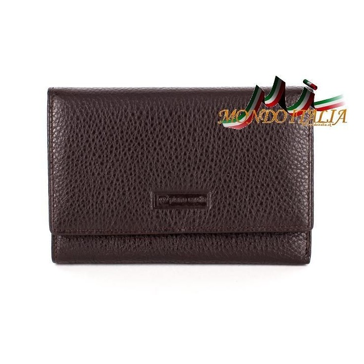Woman genuine leather wallet dark brown PIERRE CARDIN