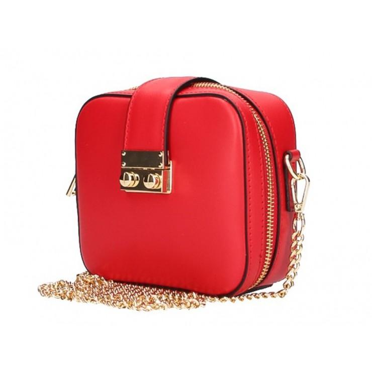 Dámska kožená kabelka na rameno 5334 červená