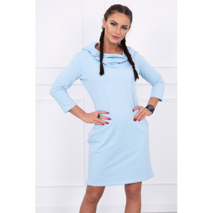 Dress with hood and pockets MIG8847 light blue