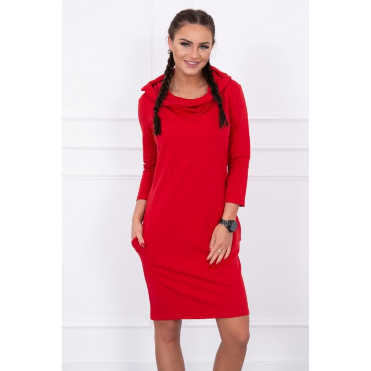 Dress with hood and pockets MIG8847 red