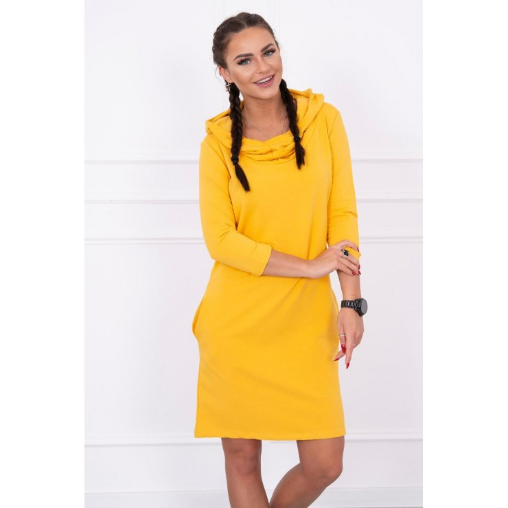 Dress with hood and pockets MIG8847 mustard