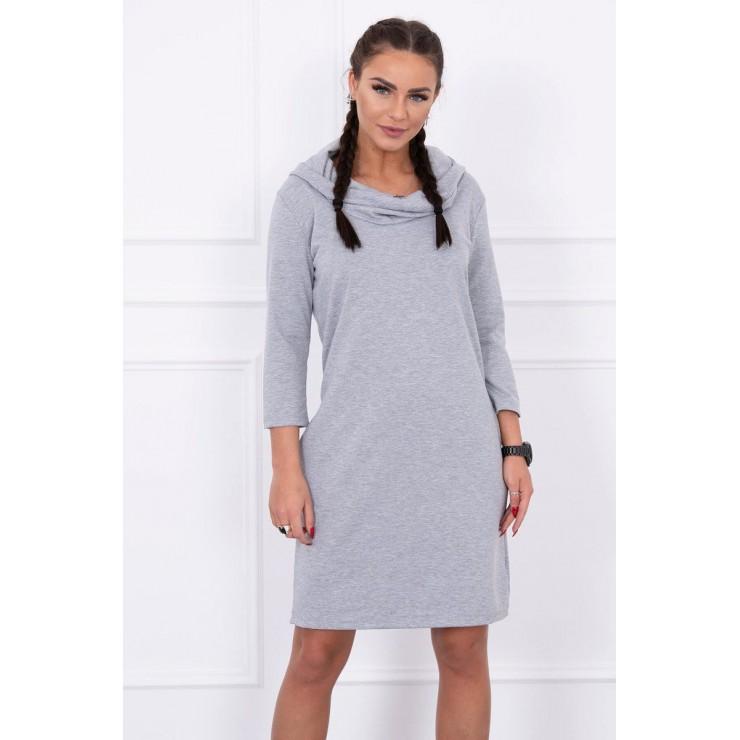 Šaty s kapucí a kapsami MIG8847 šedé