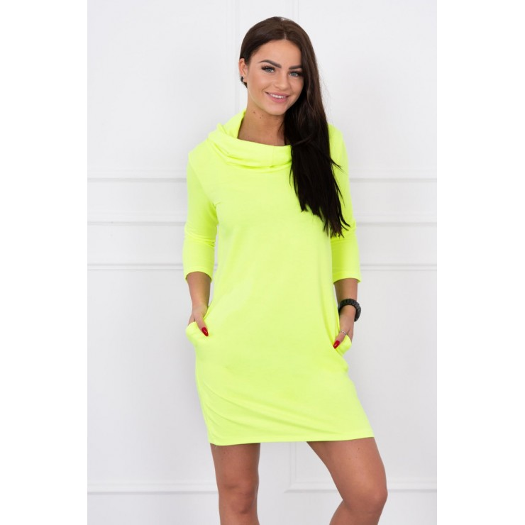 Dress with hood and pockets MIG8847 yellow neon