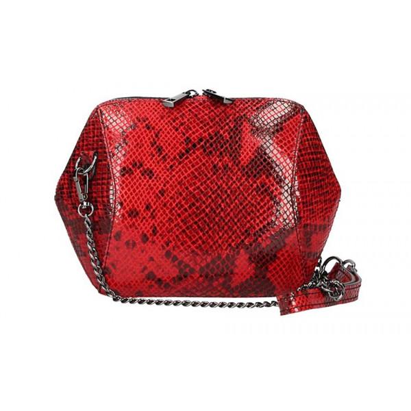 Červená kožená kabelka 446