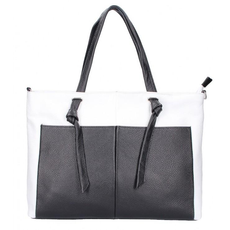 Shopper kabelka 5335 bielo-čierna