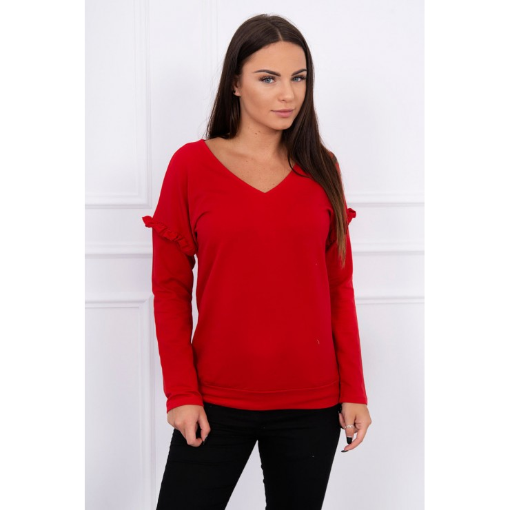 Ladies blouse with ruffle on sleeve MI8948 red