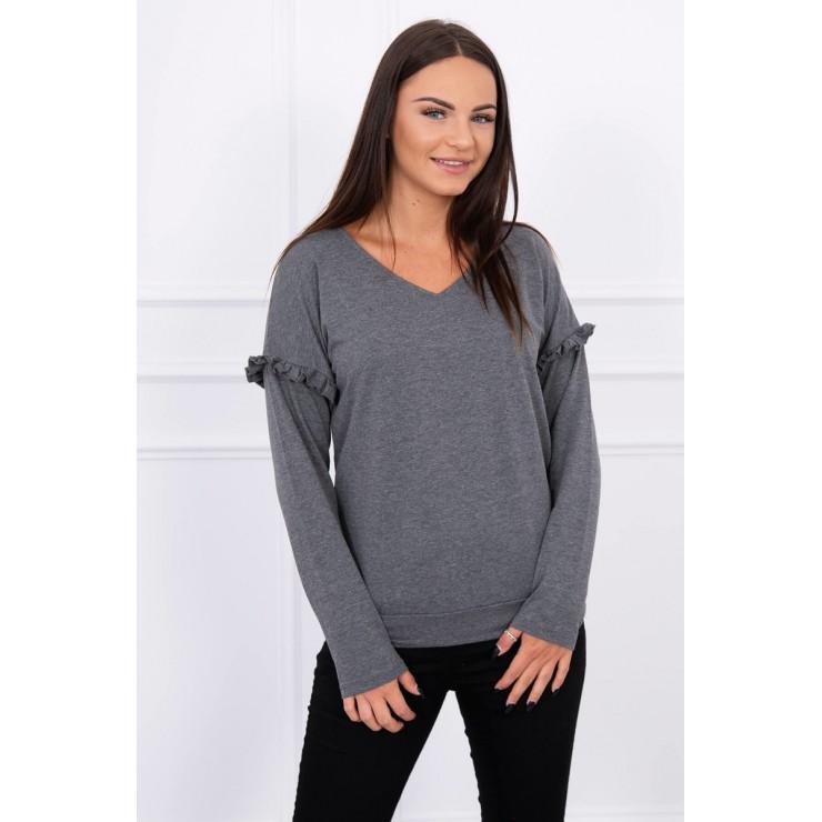 Ladies blouse with ruffle on sleeve MI8948 graphite