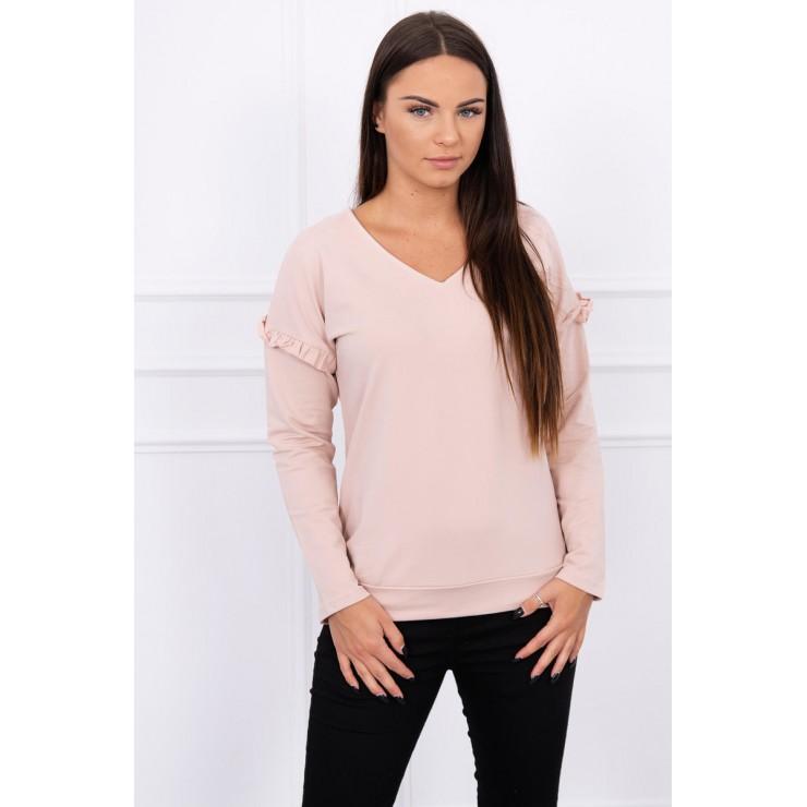Ladies blouse with ruffle on sleeve MI8948 powder pink