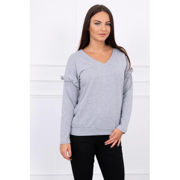 Ladies blouse with ruffle on sleeve MI8948 gray