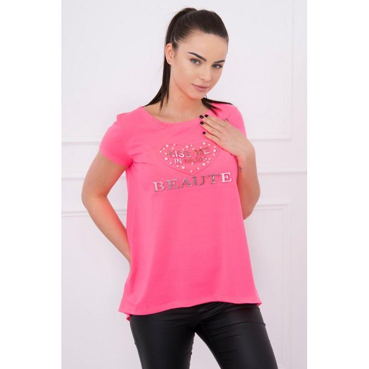 Tričko Kiss Me MI8866 ružový neón