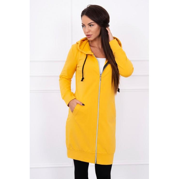 Hooded dress with e hood mustard