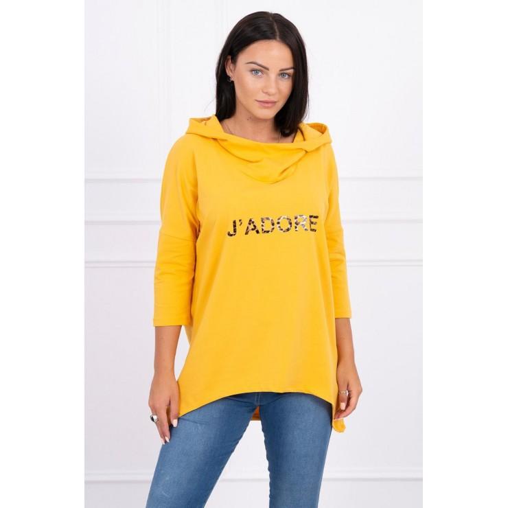 Hooded sweatshirt and print MI9002 mustard