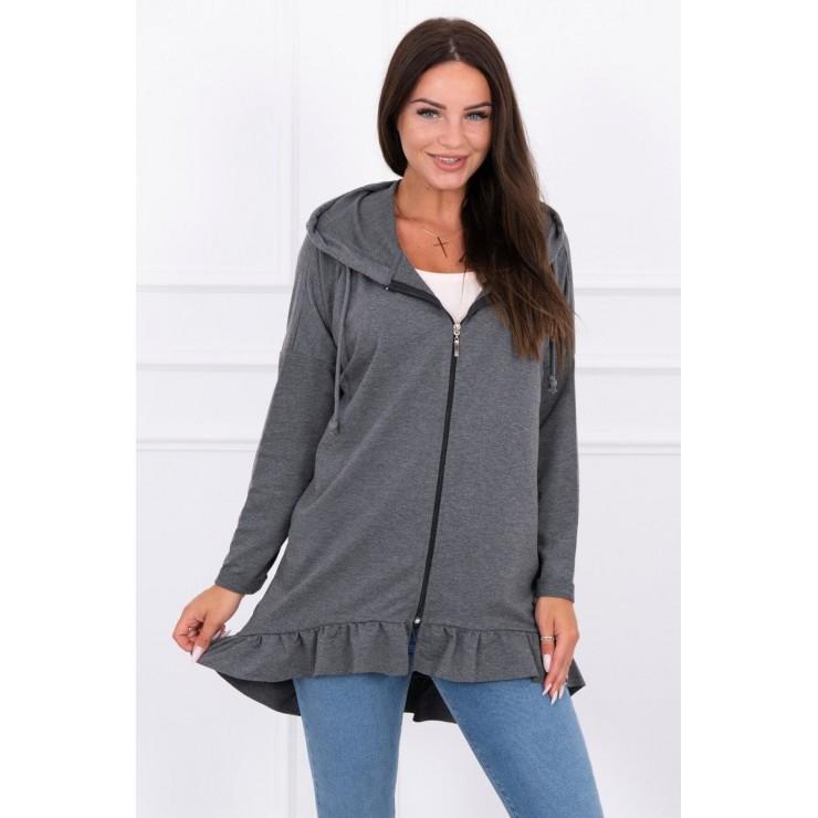 Damen Sweatshirt mit Reißverschluss, verziert mit Rüschen MI8999 rot MONDO ITALIA s.r.o.