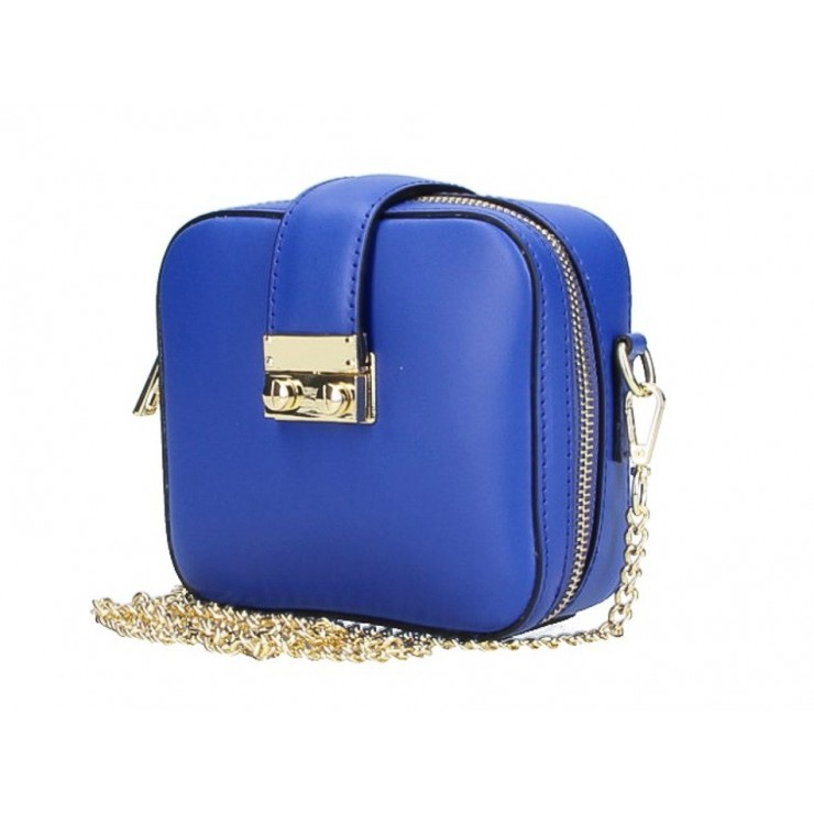 Dámská kožená kabelka na rameno 5334 azurově modrá