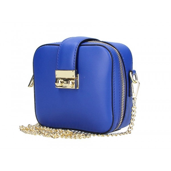 Dámska kožená kabelka na rameno 5334 azurovo modrá