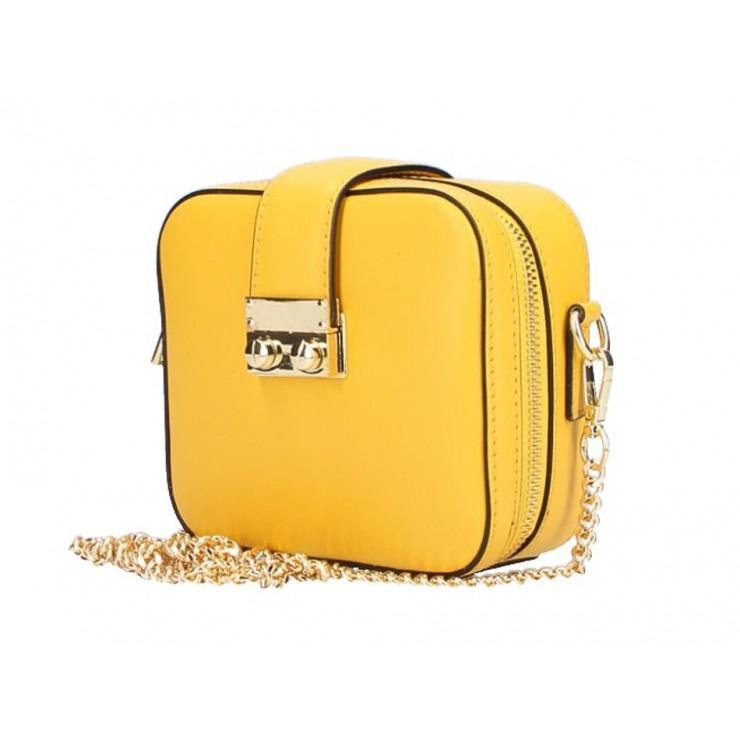 Dámska kožená kabelka na rameno 5334 žltá