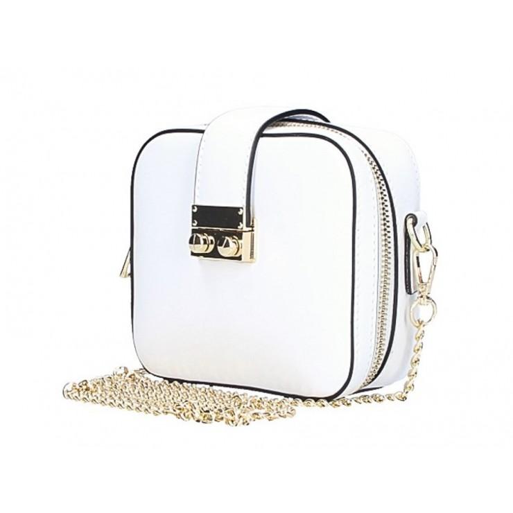 Dámska kožená kabelka na rameno 5334 biela