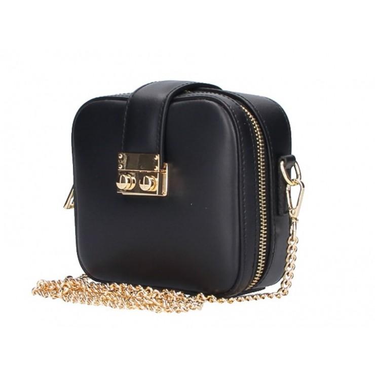 Dámska kožená kabelka na rameno 5334 čierna
