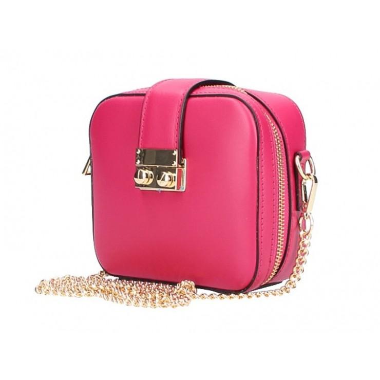 Dámska kožená kabelka na rameno 5334 fuchsia