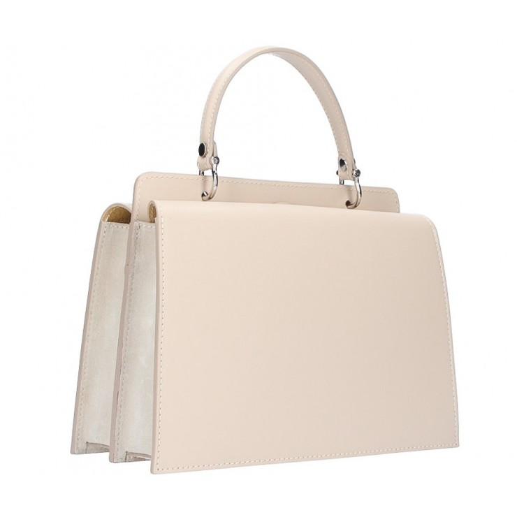 Genuine Leather Handbag  5337 beige