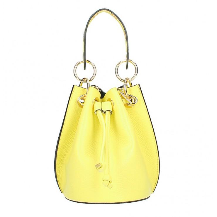 Vaková kožená kabelka 363 žltá limetka
