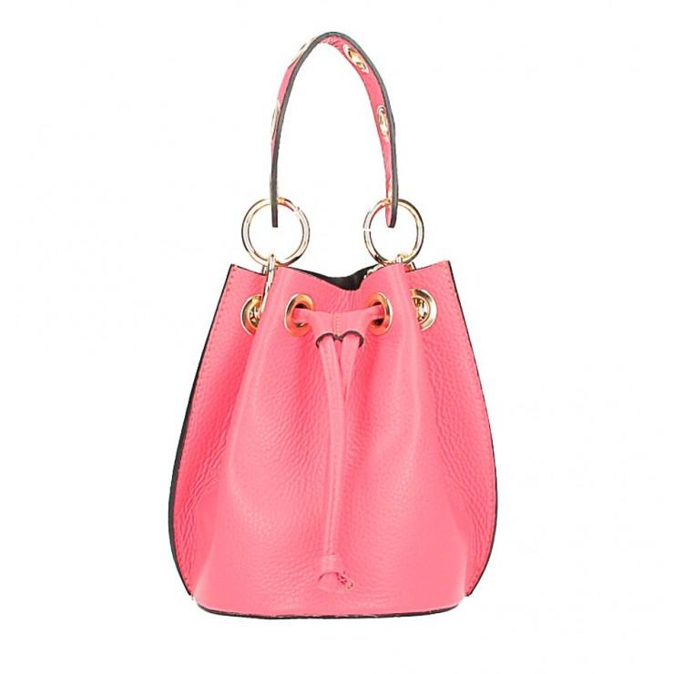 Vaková kožená kabelka 363 ružová