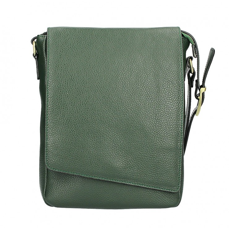 Leather Strap bag MI355 dark green Made in Italy