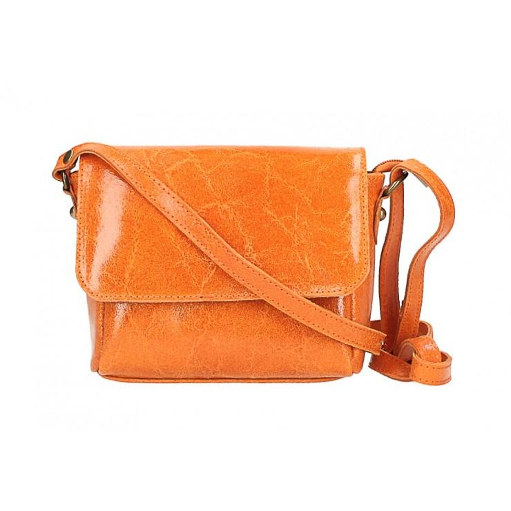 Kožená kabelka na rameno 584 oranžová
