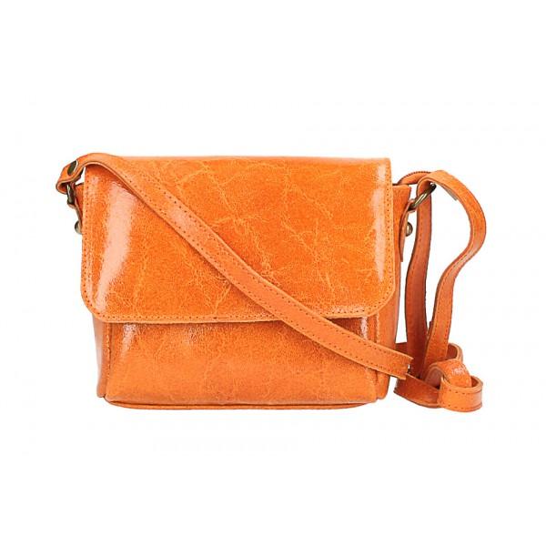 Kožená kabelka na rameno 584 oranžová Oranžová