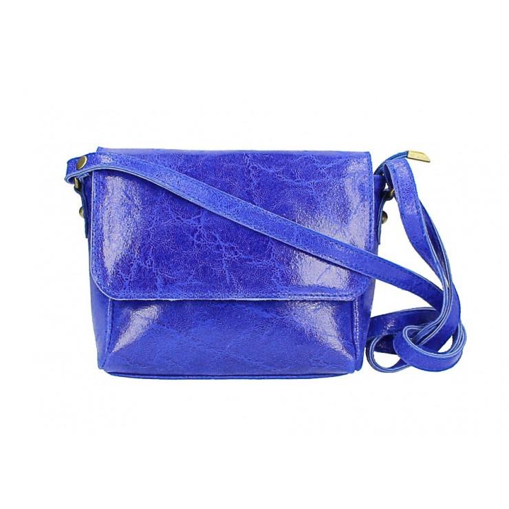 Kožená kabelka na rameno 584 azurovo modrá