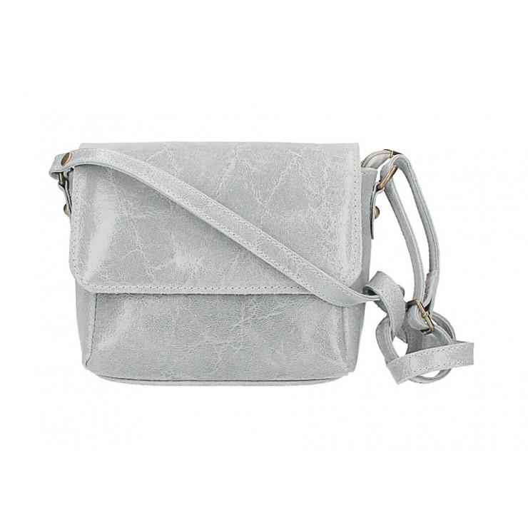 Kožená kabelka na rameno 584 šedá