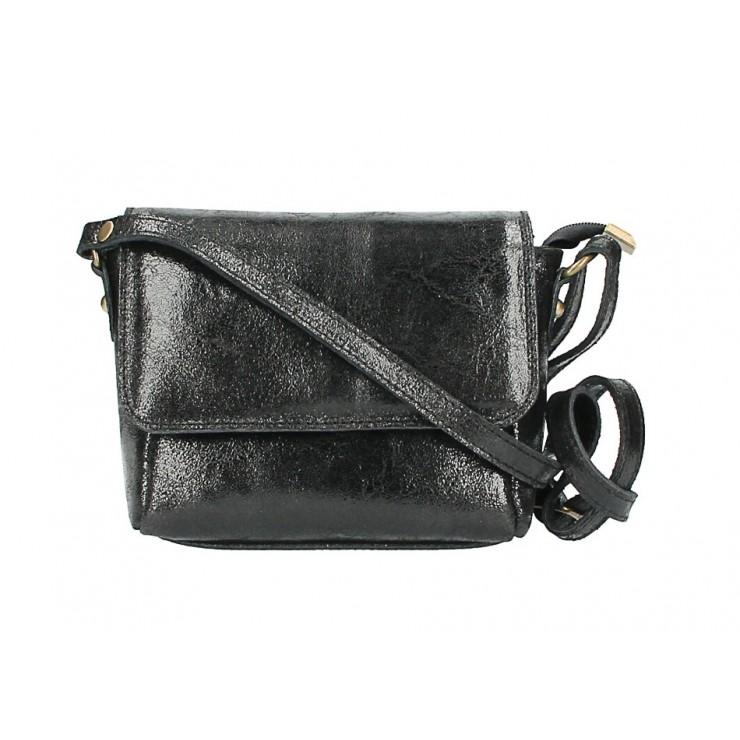 Kožená kabelka na rameno 584 čierna