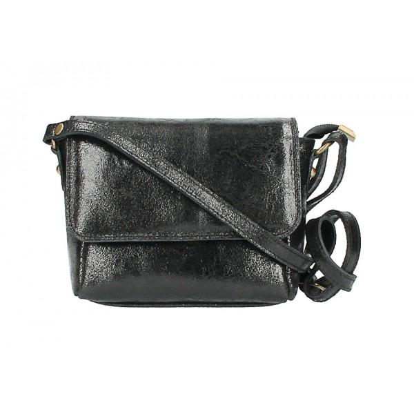 Kožená kabelka na rameno 584 čierna Čierna